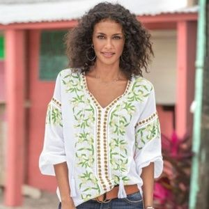Sundance Embroidered Top with Tassels Boho XL
